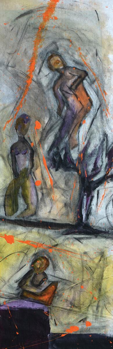 Εισπνοή VII [2015, ακρυλικά και κάρβουνο σε ύφασμα, 93x29εκ.]