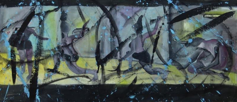 Εισπνοή Ι [2015, ακρυλικά και κάρβουνο σε ύφασμα, 44x90εκ.]