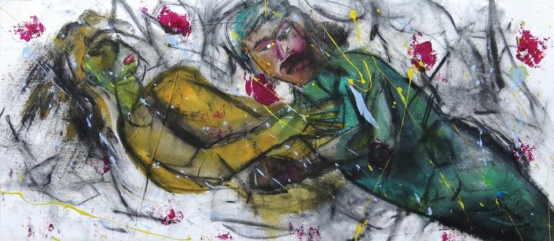 Εισπνοή V [2015, ακρυλικά και κάρβουνο σε ύφασμα, 40x94εκ.]