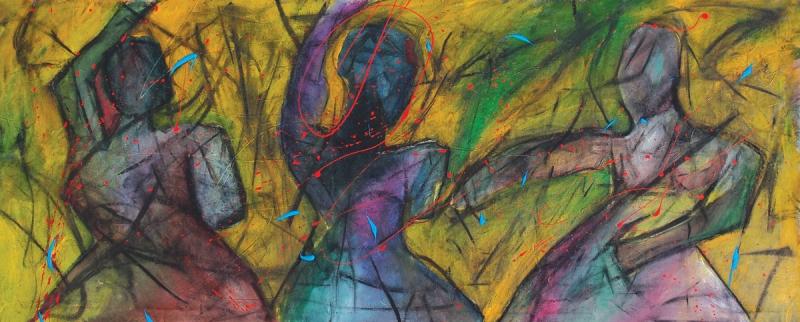Εισπνοή XVII [2015, ακρυλικά και κάρβουνο σε ύφασμα, 50x123εκ.]