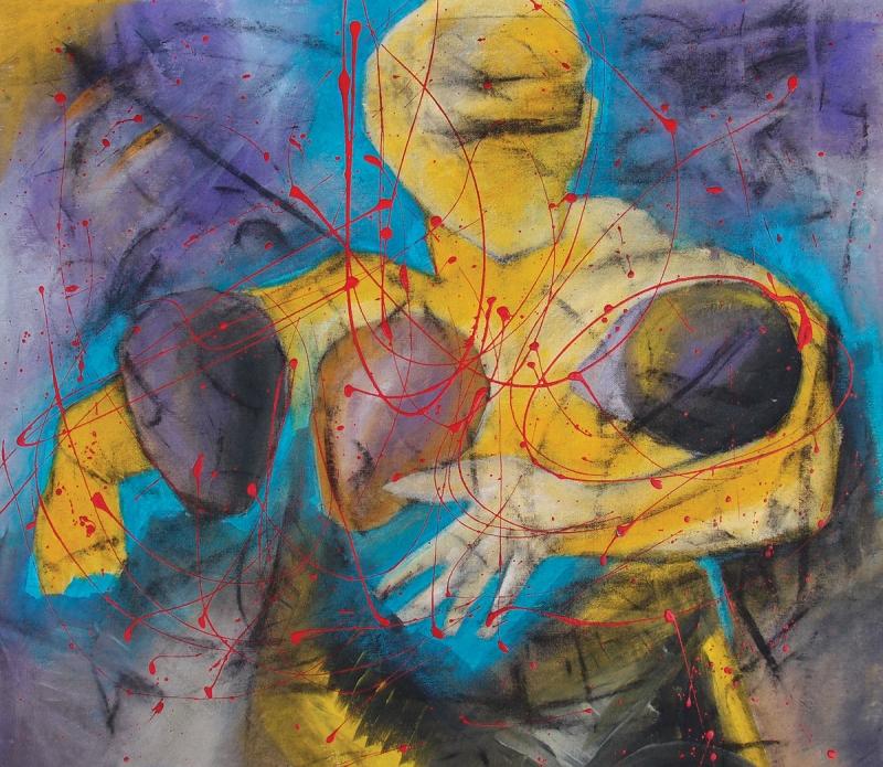 Εισπνοή XVIII [2015, ακρυλικά και κάρβουνο σε ύφασμα, 57x64εκ.]