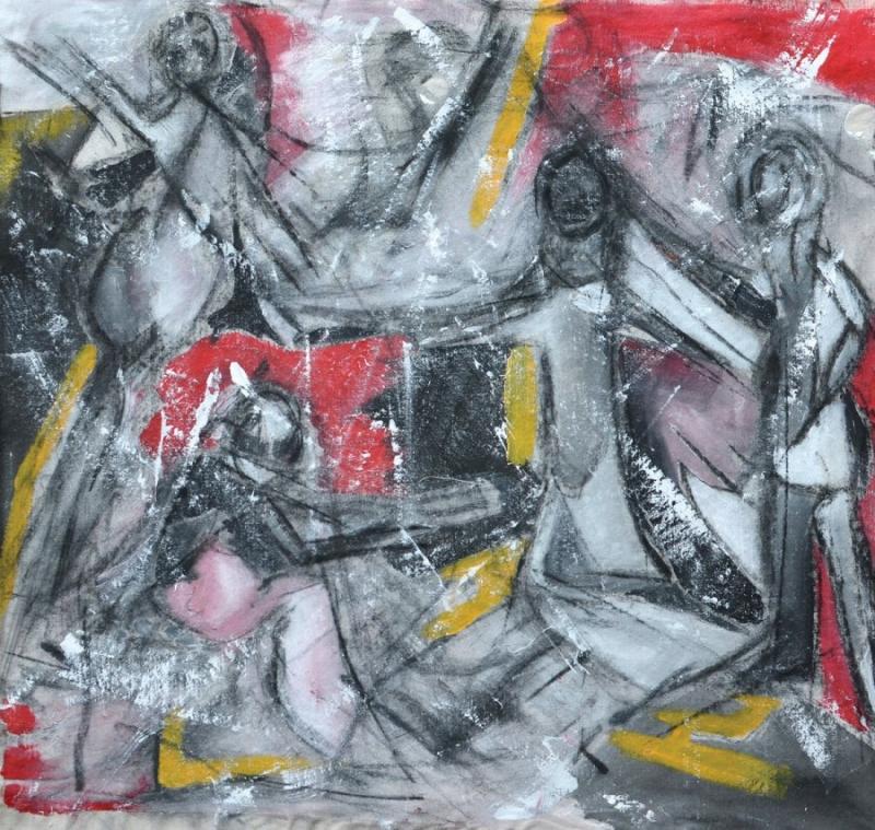 Εισπνοή XIII [2015, ακρυλικά και κάρβουνο σε ύφασμα, 57x58εκ.]