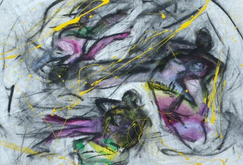 Εισπνοή XV [2015, ακρυλικά και κάρβουνο σε ύφασμα, 37x59εκ.]
