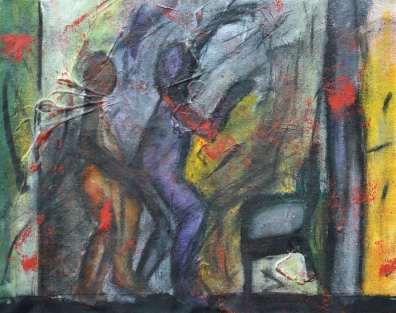 Εισπνοή XIV [2015, ακρυλικά και κάρβουνο σε ύφασμα, 24x30εκ.]