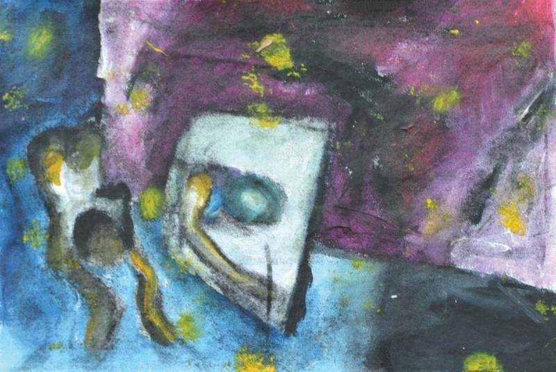 Εισπνοή XVI [2015, ακρυλικά και κάρβουνο σε ύφασμα, 15x21εκ.]