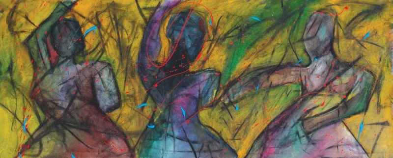 Inhalation XVII [2015, acrylic and charcoal on canvas, 50x123 cm.]