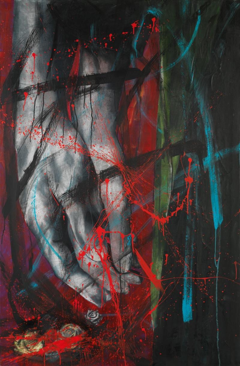 Βίος ανθόσπαρτος, μικτή τεχνική σε καμβά, 150 x100 εκ. 2017