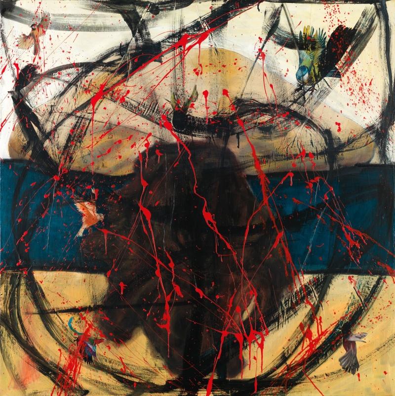 Με ψυχή, μικτή τεχνική σε καμβά, 100 x100 εκ. 2017